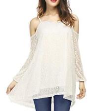NEW~Women XL-1X~COLD SHOULDER Long Sleeve~TUNIC Length White LACE Top Shirt