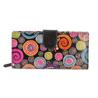 Vivid By Sukriti Black Floral Hand Painted Genuine Leather Bifold Ladies Wallet