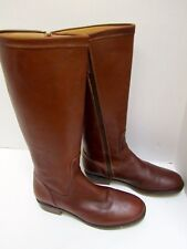 LL Bean Tall Leather Boots Brown Tan Full Side Zip Non-Skid Rubber Sole 8.5
