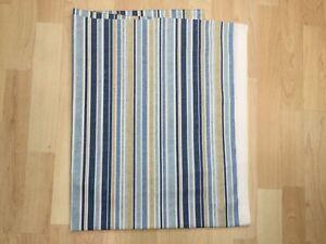 PT Textiles Spinnaker stripe Blue Cotton panama Fabric Remnant 158cm x 78cm