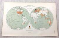 1899 Antique World Map of Meteorological Weather Stations Globe John Bartholomew