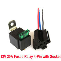 Car Automotive On/Off Fused Relay 30A 4-Pin with Holder Socket 12V A33