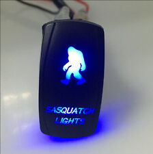 12V 20A Rocker Switch SASQUATCH Light Blue Led Laser Etched 5 Pin Off Road Truck