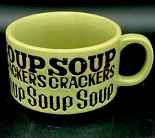 Vintage 1970s Embossed Soup Crackers Stoneware Bowl Mug Cup Green