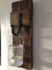 wooden wall sconce Beautifully Country Chic Glass Candle Holder Iron Hanger