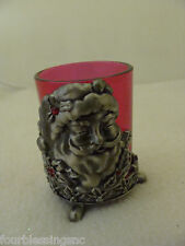 Votive Candle Holder-Red Glass With Pewter Holder-Santa Fac 00004000 E W. Rhinestones-Feet