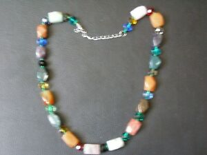"""Stunning Multi Gemstone Necklace With Beaded And Clasp Detail 18"""" Healing Stones"""