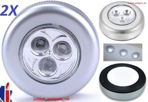 2X Silver Push Night LED Lights Lamp UNDER CUPBOARDS/FISH TANK/GARAGE/CAMPER VAN