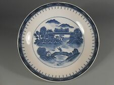 China Chinese Pottery Canton Blue & White Plate w/ Landscape Decoration 20th c.