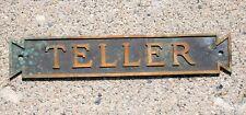 Antique Bronze Bank Teller Cashier Sign Plaque, Jax Sons of Anarchy, Man Cave