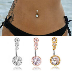 New Triple Stone Belly Bar Piercing Crystal Navel Ring 316L Surgical Steel UK