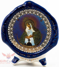Porcelain gzhel decal plaque Icon Our Lady of the Gate of Dawn Остробрамская БМ.