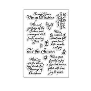 Christmas Cling Stamps Tis the Season craft clear stamp set Words,Sentiments