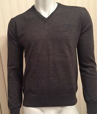 Authentic VERSACE Dark Grey V-neck Sweater Size L