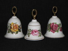 3 Danbury Mint Collectible Porcelain Bells Royal Worcester Roses