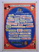 DISNEY 50 ANNI FELICI animazione Walt Disney prod. manifesto orig. 1973
