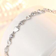 Women's 925 Sterling Silver Zircon Love Heart Infinity Charm Bracelet Xmas Gift