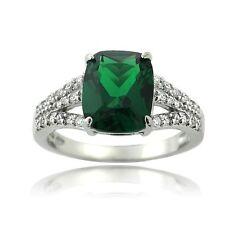 Echte Edelstein-Ringe aus Sterlingsilber mit Smaragd