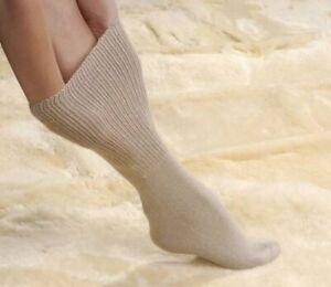 Lightweight Oedema Socks Elastic Free Soft & Top Loose Socks - Beige Size 7-9