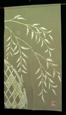 Kyoto Willow Tree Noren Door curtain Roketsu Dye Handpaint Cotton 85x150cm Japan