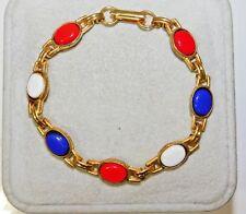 "Scarab Style Link Partiotic Red White Blue Cab Gold tone 8"" Bracelet 3j 5"