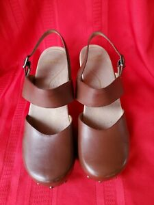 Dansko Brown Leather Mary Jane Heel Comfort Shoes Women's size 42 EU