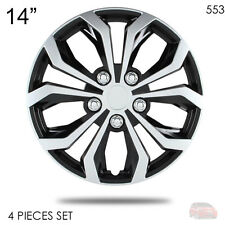 """NEW 14"""" ABS SILVER RIM LUG STEEL WHEEL HUBCAPS COVER 553 FOR HONDA"""