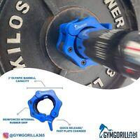 "2"" Olympic Bar Collars/Clips 50mm GYM/HOME USAGE GYMGORILLA365 inc FREE bag"