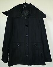 Schwarze wollige Jacke mit großem Kragen Gr. 38