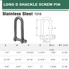 "Stainless Steel Long D Shackle Screw Pin 1/4"", 5/16"", 3/8"" - PACK 5"