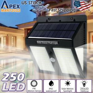 250 LED Solar Power PIR Motion Sensor Security Light Waterproof Garden Wall Lamp