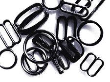 10 Anillo de corpiño de tira Grams Negro Gancho Clips Sujetador Accesorios Tamaños Surtidos Deslizadores