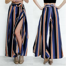 New Summer Casual Wide Leg High Waist Pants Split Loose Culottes Trousers Stripe