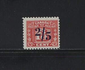 CANADA - #FX106 - 2/5c on 3/16c RED THREE LEAF MINT STAMP MH