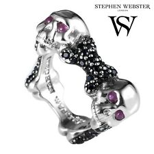 Stephen Webster 925 Sterling Silver Genuine Ruby & Black Sapphire Skull Ring