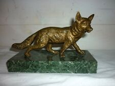 Bronze XIXe Renard fox sculpture sur socle en marbre