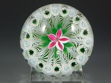 Peter Holmes Studio Art Glass PAPERWEIGHT FLOWER OVER LATTICINO CANE Rare