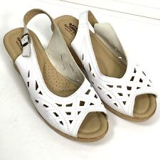 Spring Step Italy Sling Back Chaya Cork Wedge Sandals Womens sz 41 White Comfort