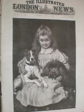 Bosom Friend by C T Garland girl and her dogs 1890 print ref AU