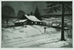 A fine George Bradshaw etching, Snowy Evening, pencil signed, AAA edition