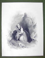 FRANCE Alsp Savoy Lovely Girl Sheep Hunters - SUPERB Quality Print Engraving