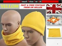Yellow Neckwarmer Thermal Polar Fleece Snood Scarf Hat Sport Wear Warm