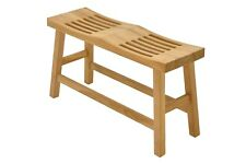 Grade-A Teak Wood Double Curved Seat Shower Bath Spa Stool Friendship Bench