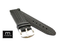 22mm Black Tang Buckle Truck Tire Tread Style MODENA Rubber watch strap / band