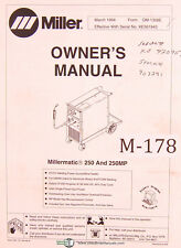 Miller Millermatic 250 Amp 250mp Welding Power Source Operations And Parts Manual