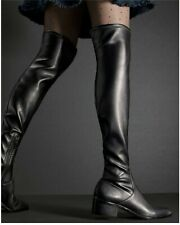 DONALD J PLINER SHOES DAYLE OVER THE KNEE STRETCH BLACK NAPPA BOOTS OTK $398 7.5