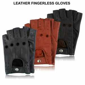 Half Finger Cycling Gloves Bus Driving Wheelchair Fingerless Bike Leather