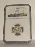 1842 O 10c Seated Liberty Dime PCGS XF45 rare old type coin money