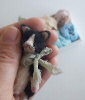 Miniature teddy Little cat Tom. Ooak art doll