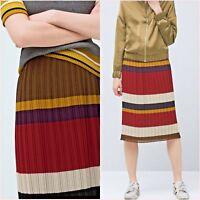 ❤ Red Purple Striped Pleated Midi Skirt Mango Size S UK 8 US 4 Zara Blogger ❤